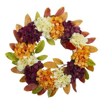 20 in. Unlit Classic Hydrangeas and Leaves Fall Harvest Artificial Wreath