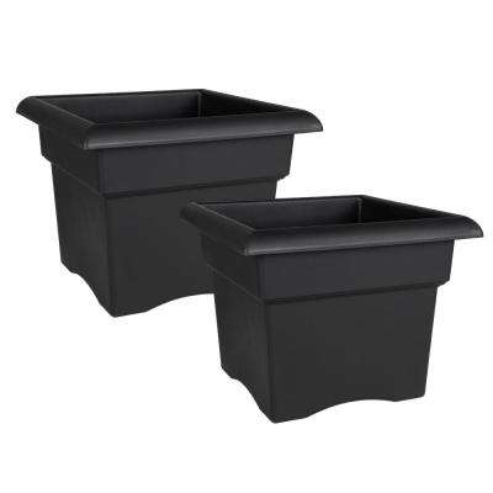Veranda 14 in. x 11.25 in. Black Plastic Square Deck Box Planter (2-Pack)