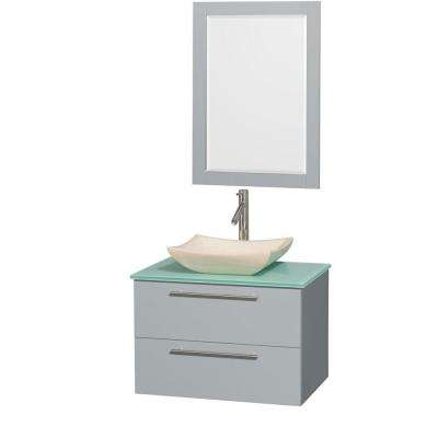Amare 30 in. W x 20.5 in. D Vanity in Dove Gray with Glass Vanity Top in Green with Ivory Basin and 24 in. Mirror