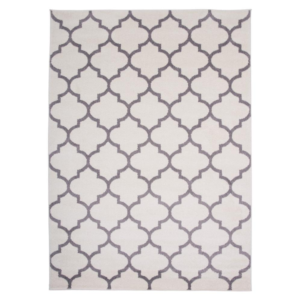 Contemporary Modern Moroccan Trellis Area Rug 5 X 7 Cream