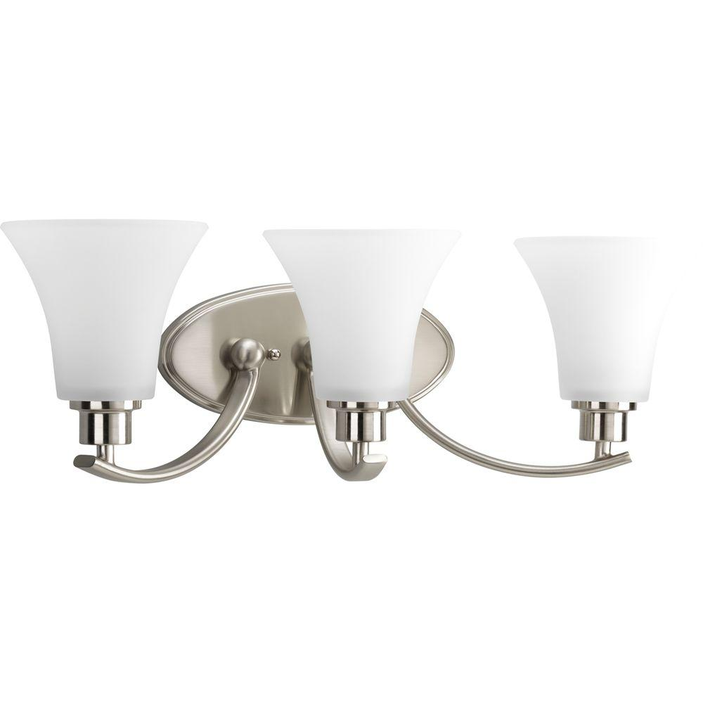 Progress Lighting Joy Collection 3 Light Brushed Nickel Bathroom Vanity With Gl Shades