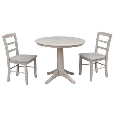 Olivia 3-Piece Oval Weathered Gray Dining Set with Madrid Chairs