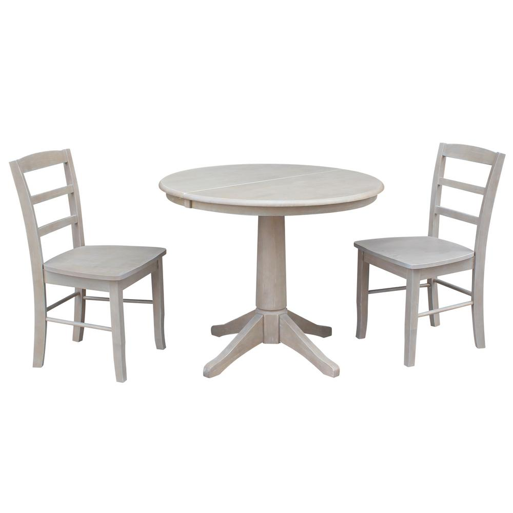International Concepts Olivia 3 Piece Oval Weathered Taupe Gray Dining Set With Madrid Chairs