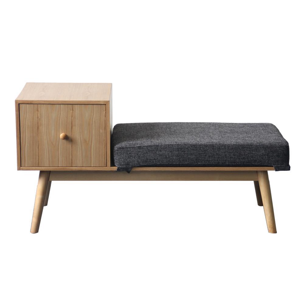 Ilya Mid-Century Modern Dark Gray Fabric and Natural Faux Wood Storage Bench