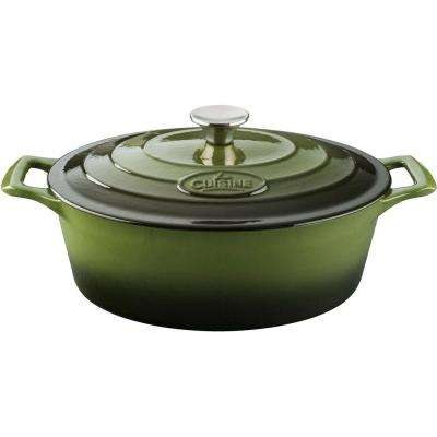 Pro 6.75 Qt. Cast Iron Oval Casserole with Green Enamel