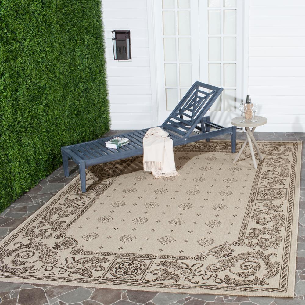 Courtyard Sand/Black 8 ft. x 11 ft. Indoor/Outdoor Area Rug