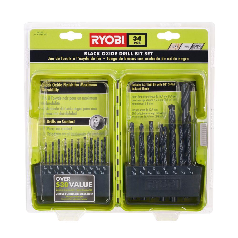 Ryobi Black Oxide Drill Bit Set (34-Piece)