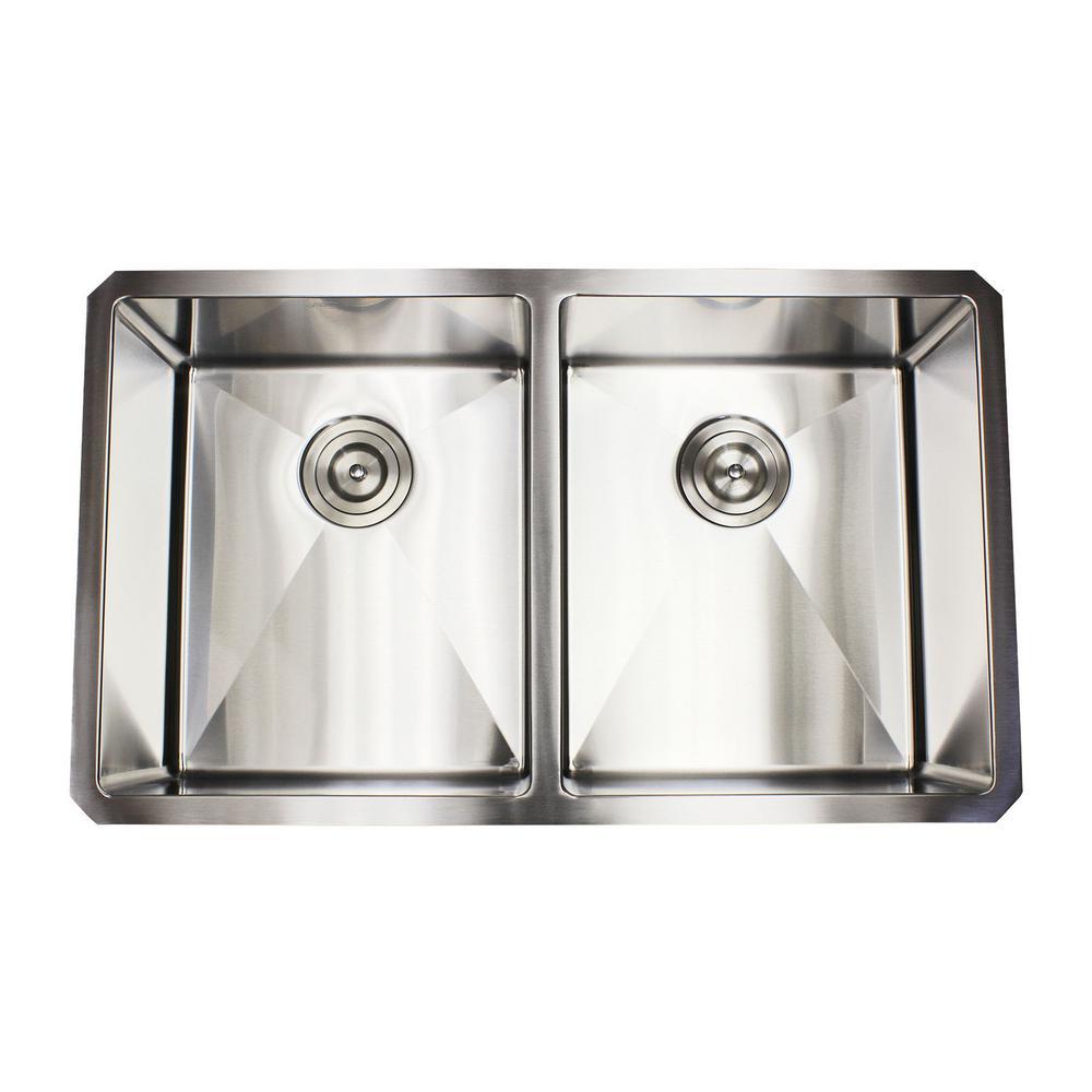 Undermount Stainless Steel 32 in. x 19 in. x 10 in. 16-Gauge 50/50 Double Bowl Kitchen Sink