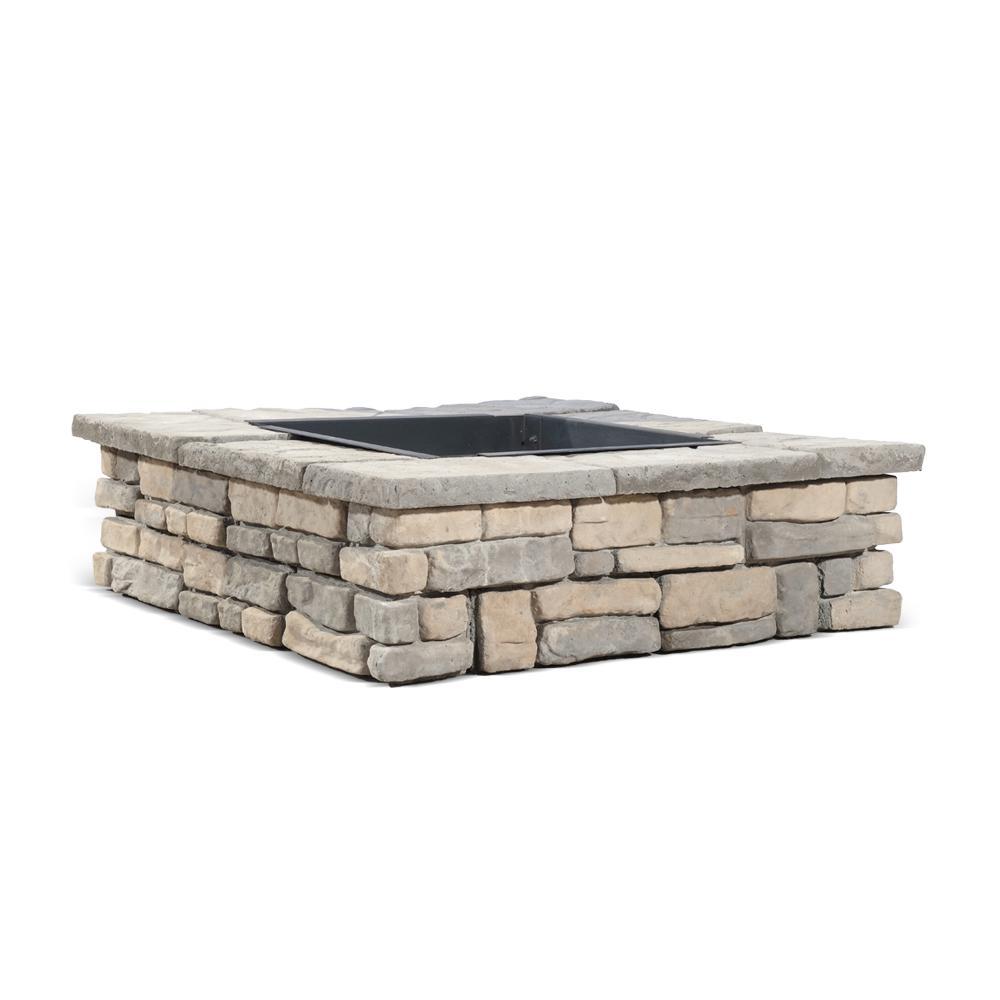 28 in. x 14 in. Steel Wood Random Stone Limestone Square Fire Pit Kit