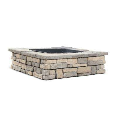 28 in. x 14 in. Steel Wood Random Stone Limestone Square Fire Pit Kit