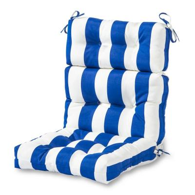 Cabana Stripe Blue Outdoor High Back Dining Chair Cushion
