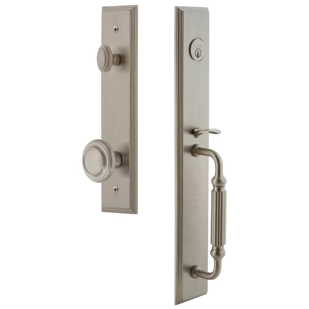 Grandeur Carre 2-3/4 in. Backset Satin Nickel 1-Piece Door Handleset with F-Grip and Circulaire Knob