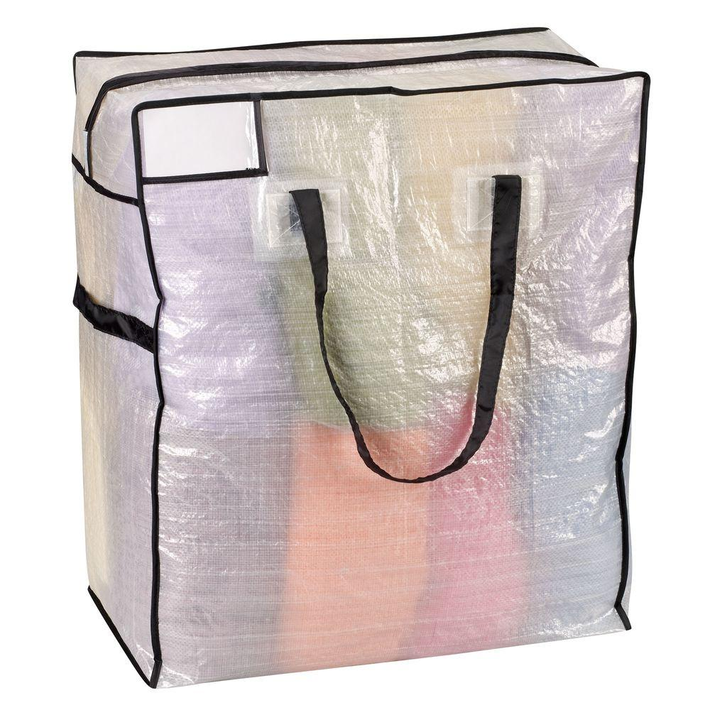 Household Essentials 22 in. x 26 in. Medium Tote Clear with Black Trim