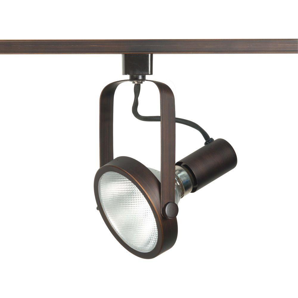 1-Light PAR30 Russet Bronze Gimbal Ring Track Lighting Head