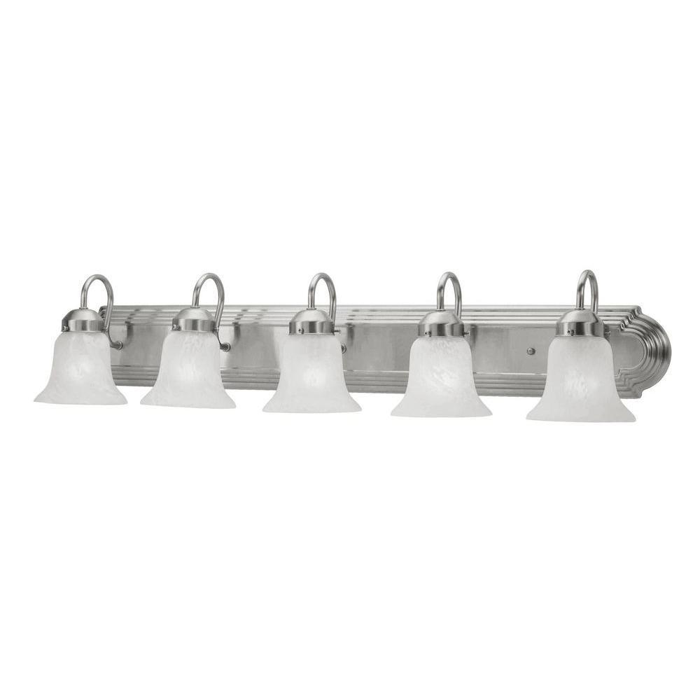 Livex Lighting 5-Light Brushed Nickel Bath Light with White Alabaster Glass