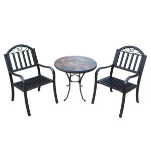 Rochester Coffee 3-Piece Metal Outdoor Bistro Set by