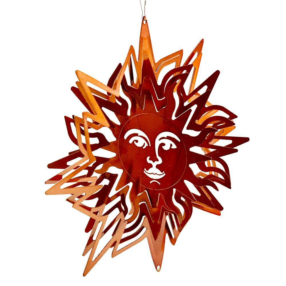 Falkirk Wind 12 in. Stainless Steel Wind Spinner  Mandala Pointed in Sun Copper