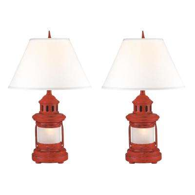 27 in. Red Indoor Table Lamp Set