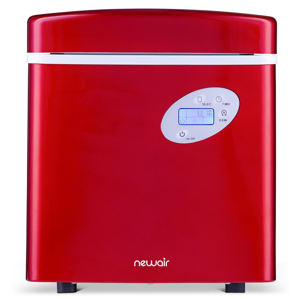 Premium 50 lb. BPA FREE Countertop Freestanding Self Cleaning Portable Ice Maker with 3 Ice Sizes - Red