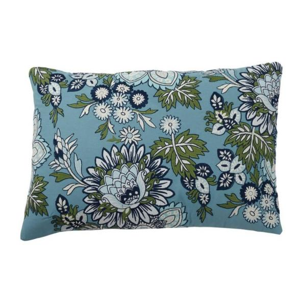 Embroidered Blue Floral 16 in. x 24 in. Decorative Throw Pillow Cover