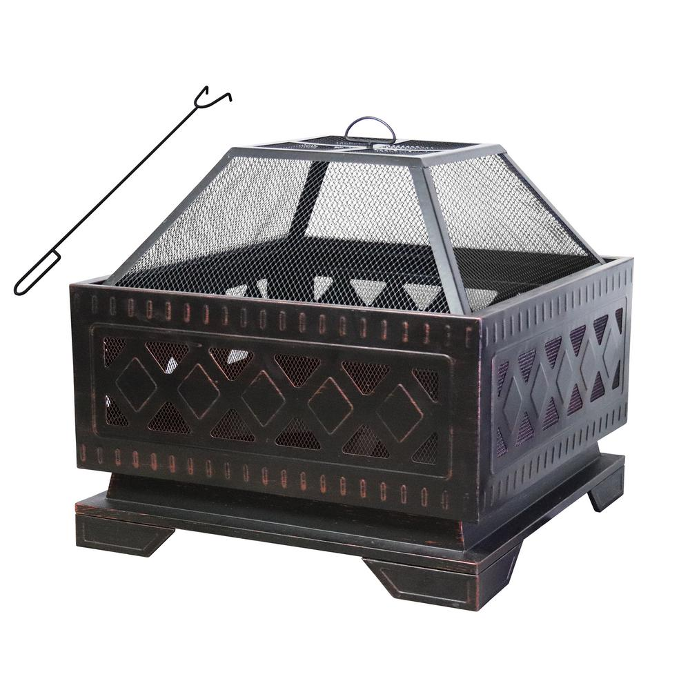 Maypex 25 in. Square Steel Wood Burning Fire Pit