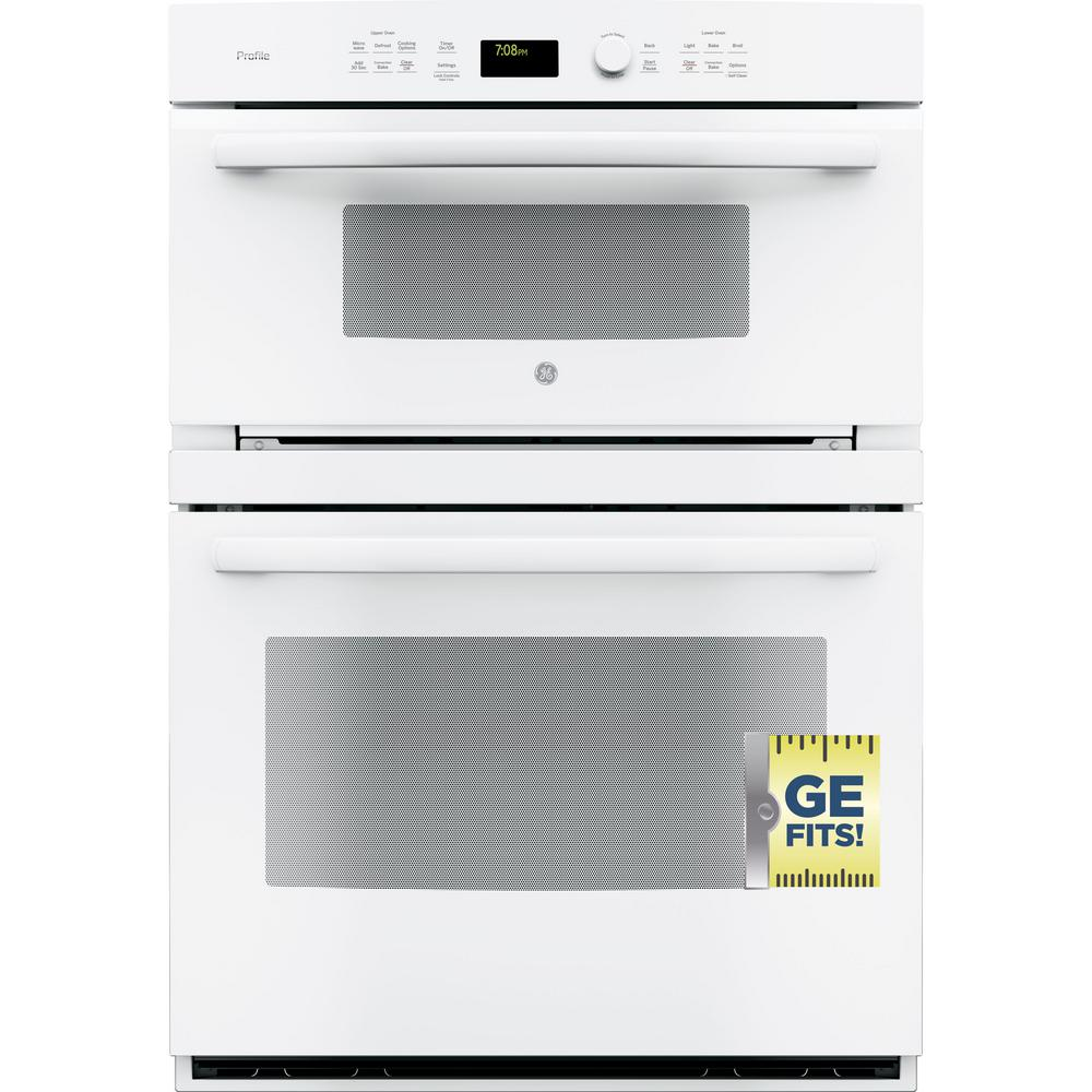 Ge Profile 30 In Double Electric Wall Oven With Convection Self Cleaning And Built Microwave White