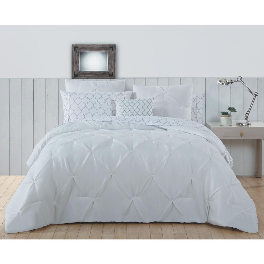 Bradford Pintuck BIAB 8-Piece Bright White King Comforter 11-0601 TPX