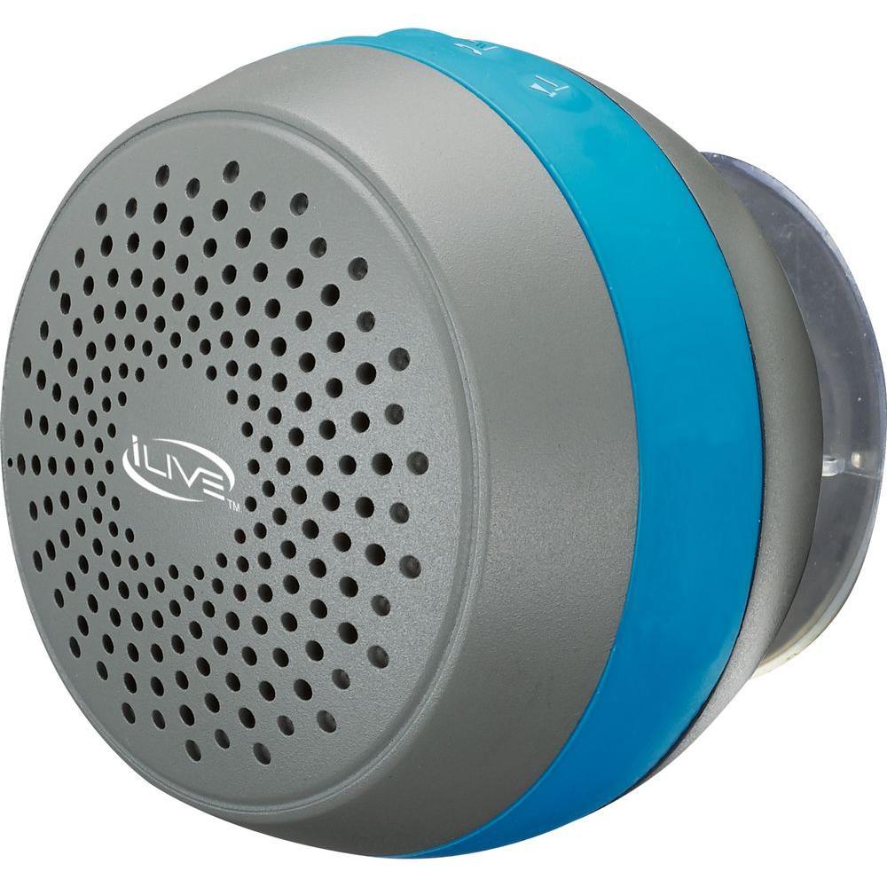DPI Water Resistant Bluetooth Shower Speaker, Blue/Gray