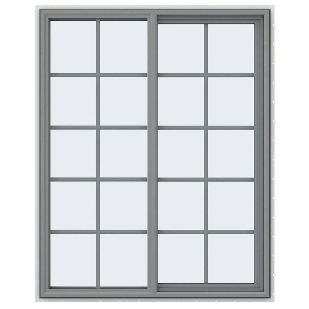 JELD-WEN 47.5 in. x 59.5 in. V-4500 Series Right-Hand Sliding Vinyl Window with Grids - Gray