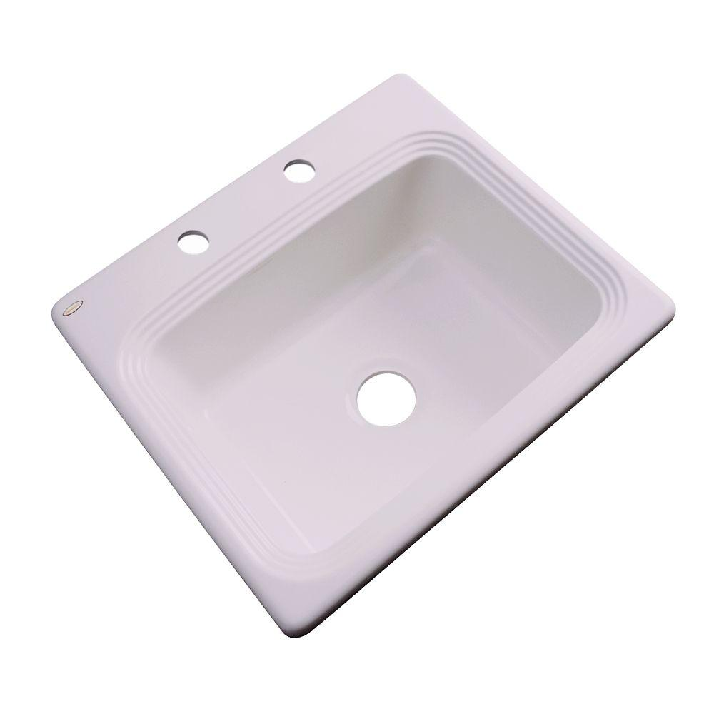 Thermocast Rochester Drop-In Acrylic 25 in. 2-Hole Single Bowl Kitchen Sink in Innocent Blush