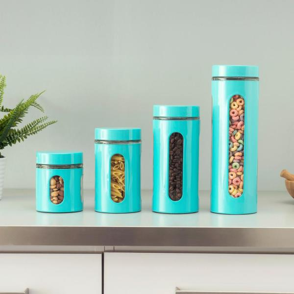 4-Piece Essence Collection Turquoise Stainless Steel Canister Set