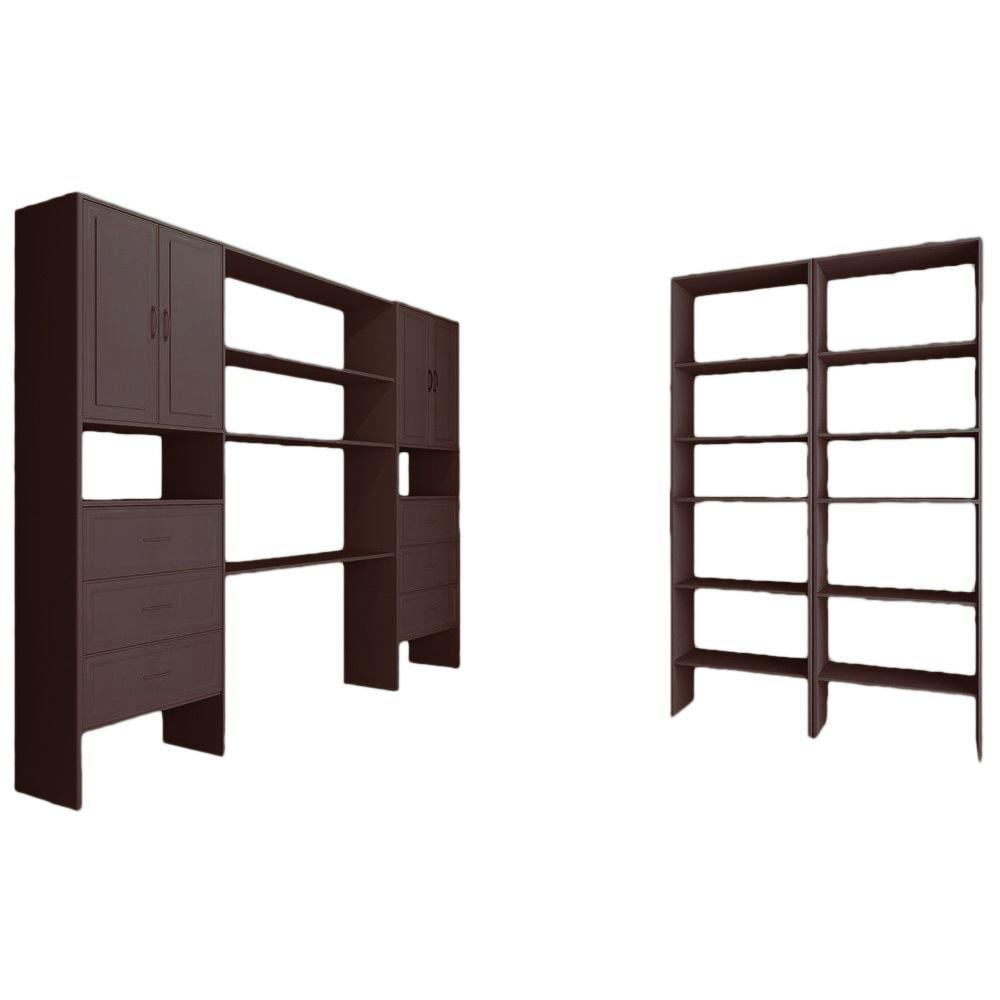 14.57 in. D x 148 in. W x 83 in. H Mocha Office Wood Closet System Kit