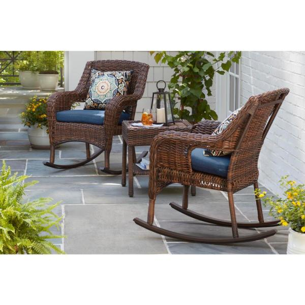Hampton Bay Cambridge Brown Wicker, Outdoor Patio Furniture With Rocking Chairs