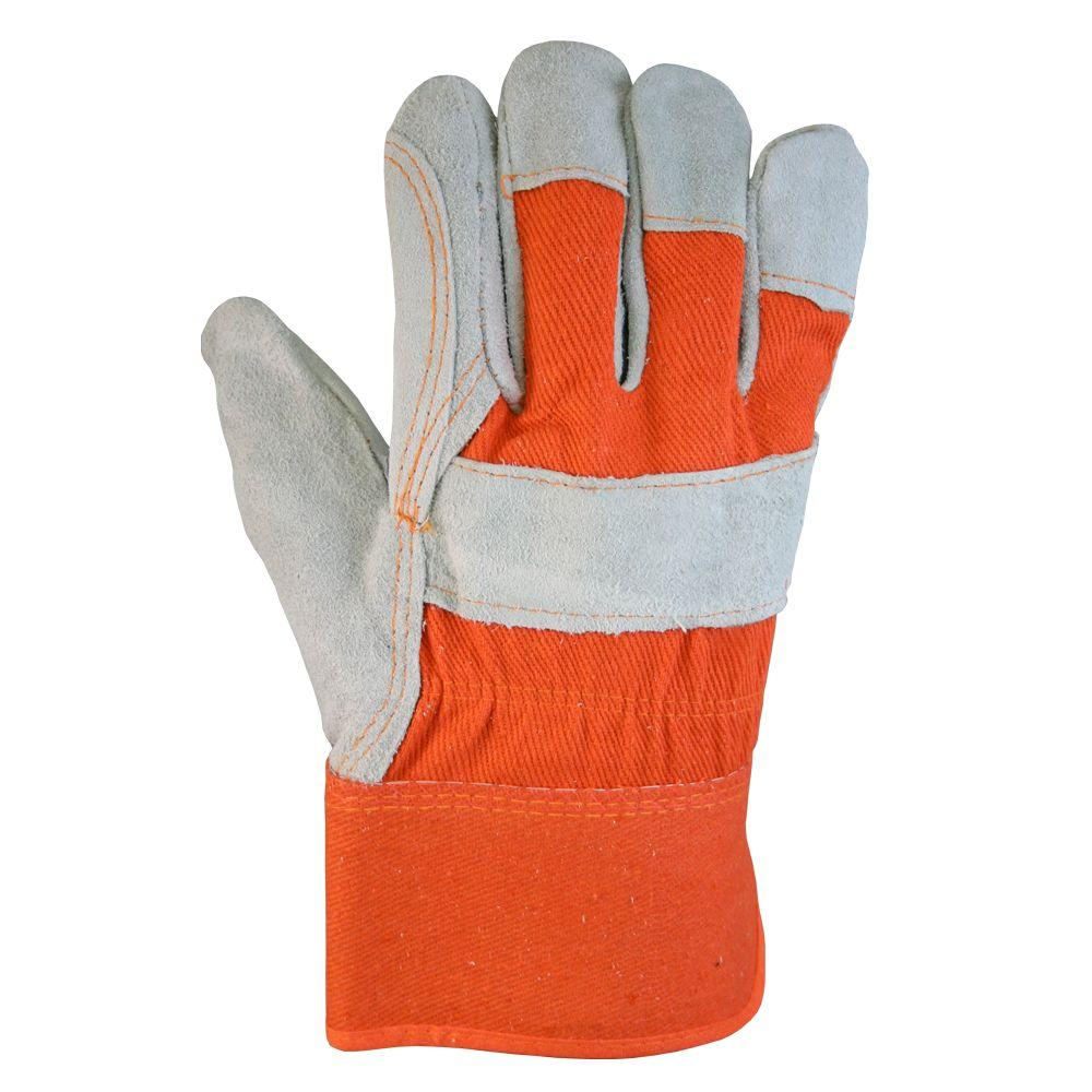 Firm Grip Orange Suede Cowhide Leather and Denim Large Work Gloves