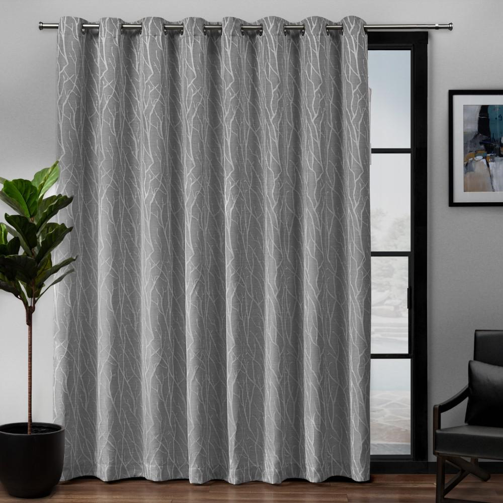 Exclusive Home Curtains Forest Hill Patio 108 In W X 84 L Woven Blackout Grommet Top Curtain Panel Ash Grey 1