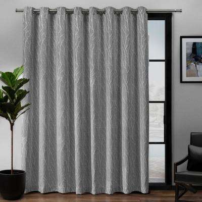 Forest Hill Patio Woven Blackout Grommet Top Curtain Panel in Ash Grey - 108 in. W x 84 in. L
