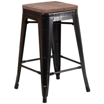 24 in. Black-Antique Gold Bar Stool