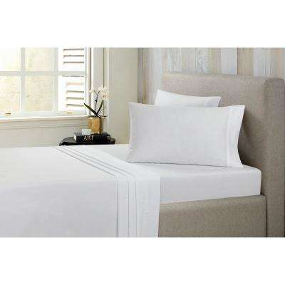 Solid Brushed 100% Cotton Solid White Full Sheet Set