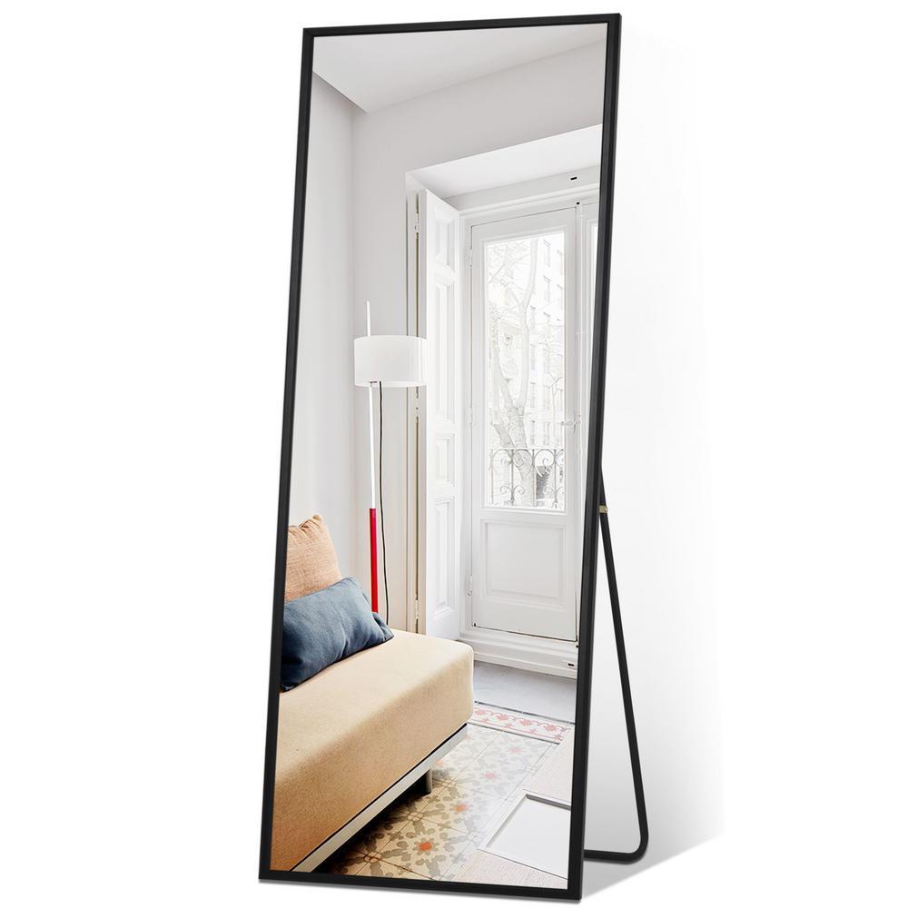 65 in. x 22 in. Black Sleek Beveled Thickened Metal Frame Full Length Floor Mirror Wall Mirror Bedroom Living Room