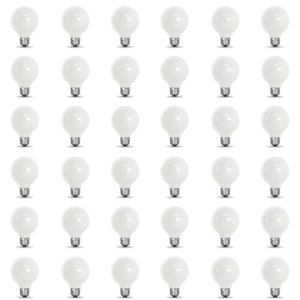 60-Watt Equivalent G25 Dimmable Filament ENERGY STAR White Glass LED Light Bulb, Daylight (36-Pack)