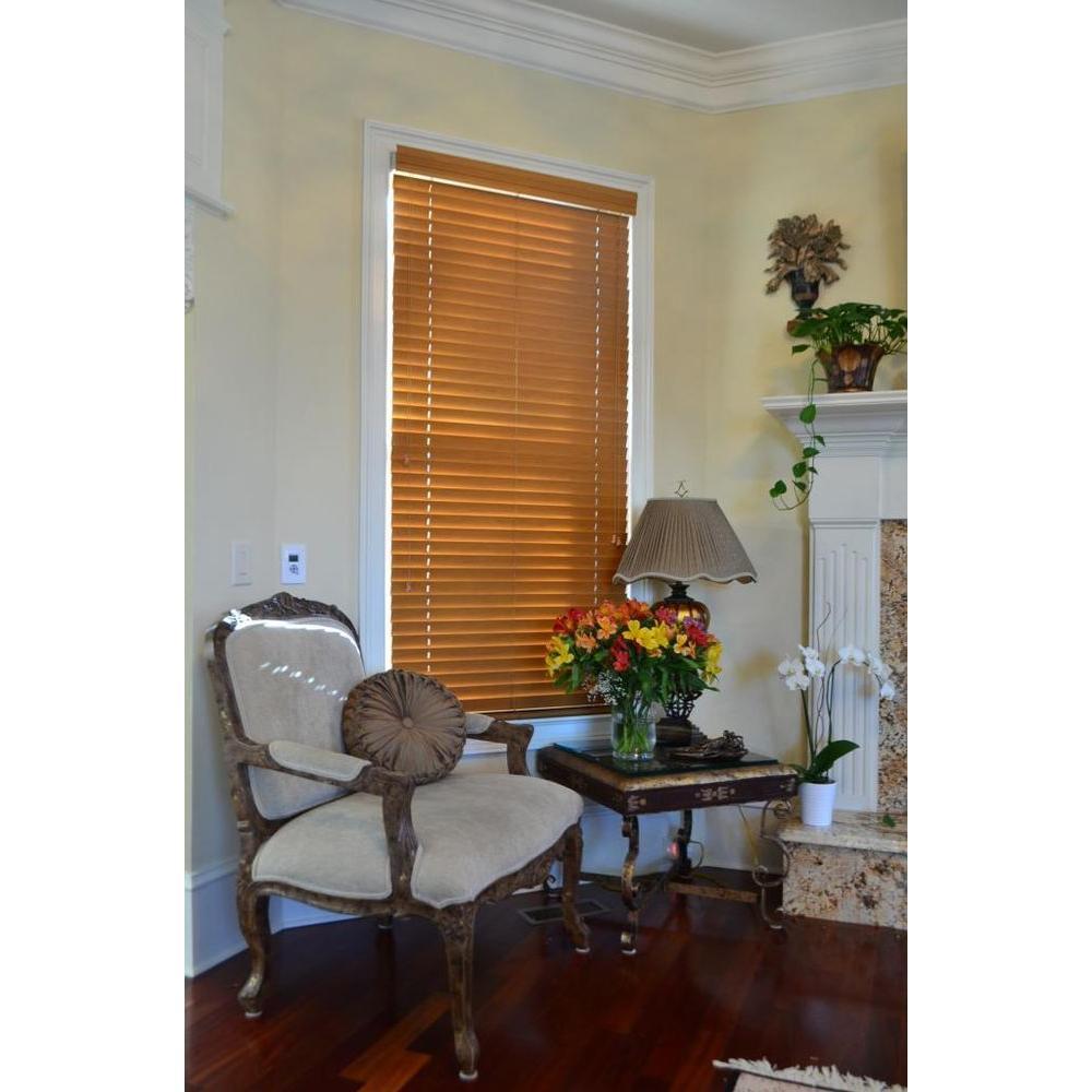 Blinds By Noon Golden Oak 2 in. Faux Wood Blind - 60.5 in. W x 64 in. L (Actual Size 60 in. W 64 in. L )