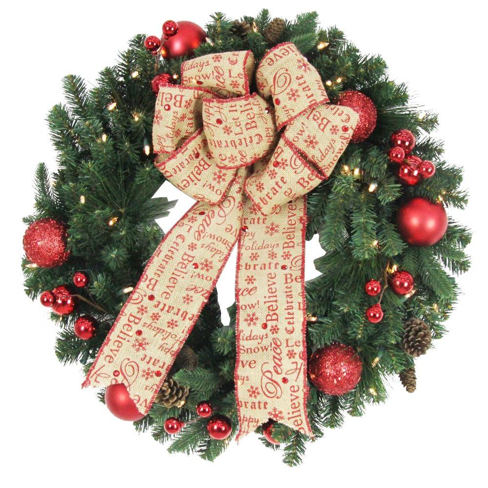 home accents holiday 30 in battery operated holiday burlap artificial wreath with 50 clear led - Burlap Outdoor Christmas Decorations