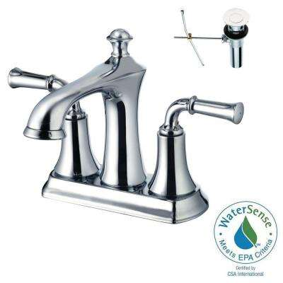 4 in. Centerset 2-Handle Bathroom Faucet in Polished Chrome with Pop-Up Drain