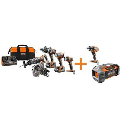 GEN5X 18-Volt 5 Piece Combo Kit with BONUS 18-Volt Brushless Impact Wrench and Dual Powered Bluetooth Jobsite Radio