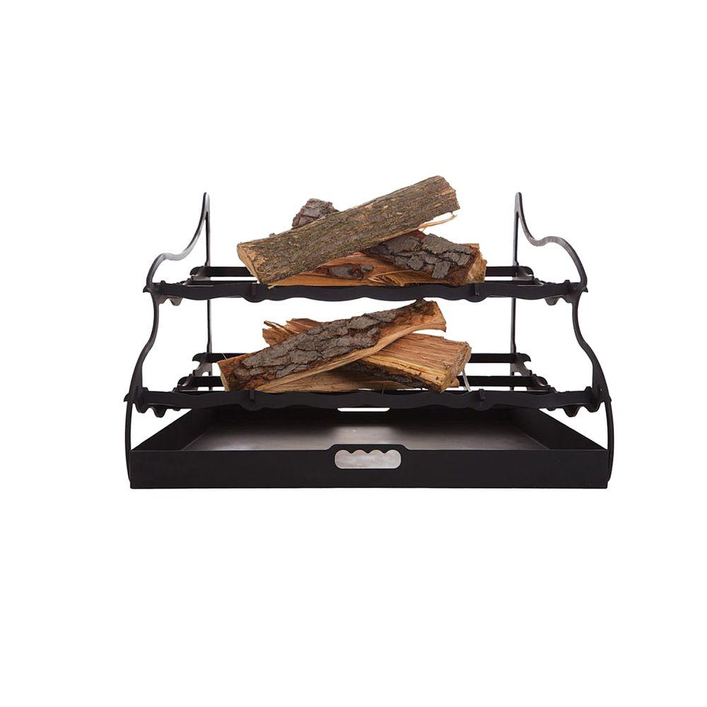 stepflame 30 in dual tier fireplace grate cfg30 the home depot