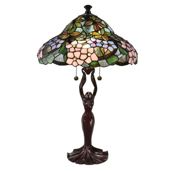 Halle Floral 26 in. Antique Bronze Table Lamp with Hand Rolled Art Glass Shade
