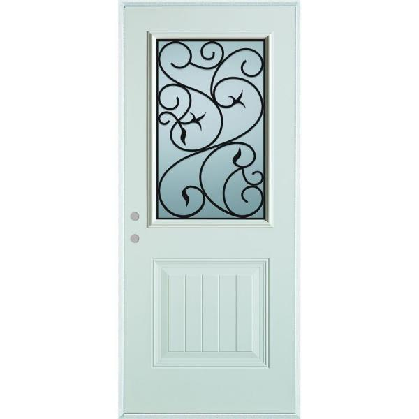 36 in. x 80 in. Silkscreened Glass 1/2 Lite 1-Panel Painted White Right-Hand Inswing Steel Prehung Front Door