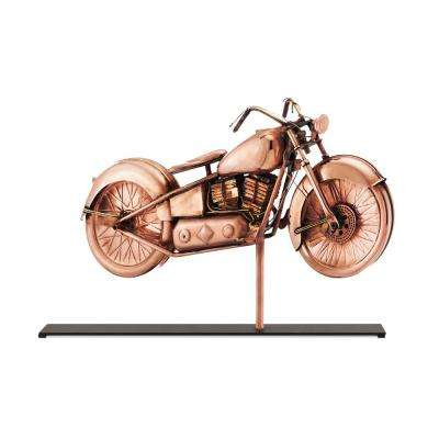 Motorcycle Pure Copper Weathervane Sculpture on Iron Mantel Stand: Home Decor