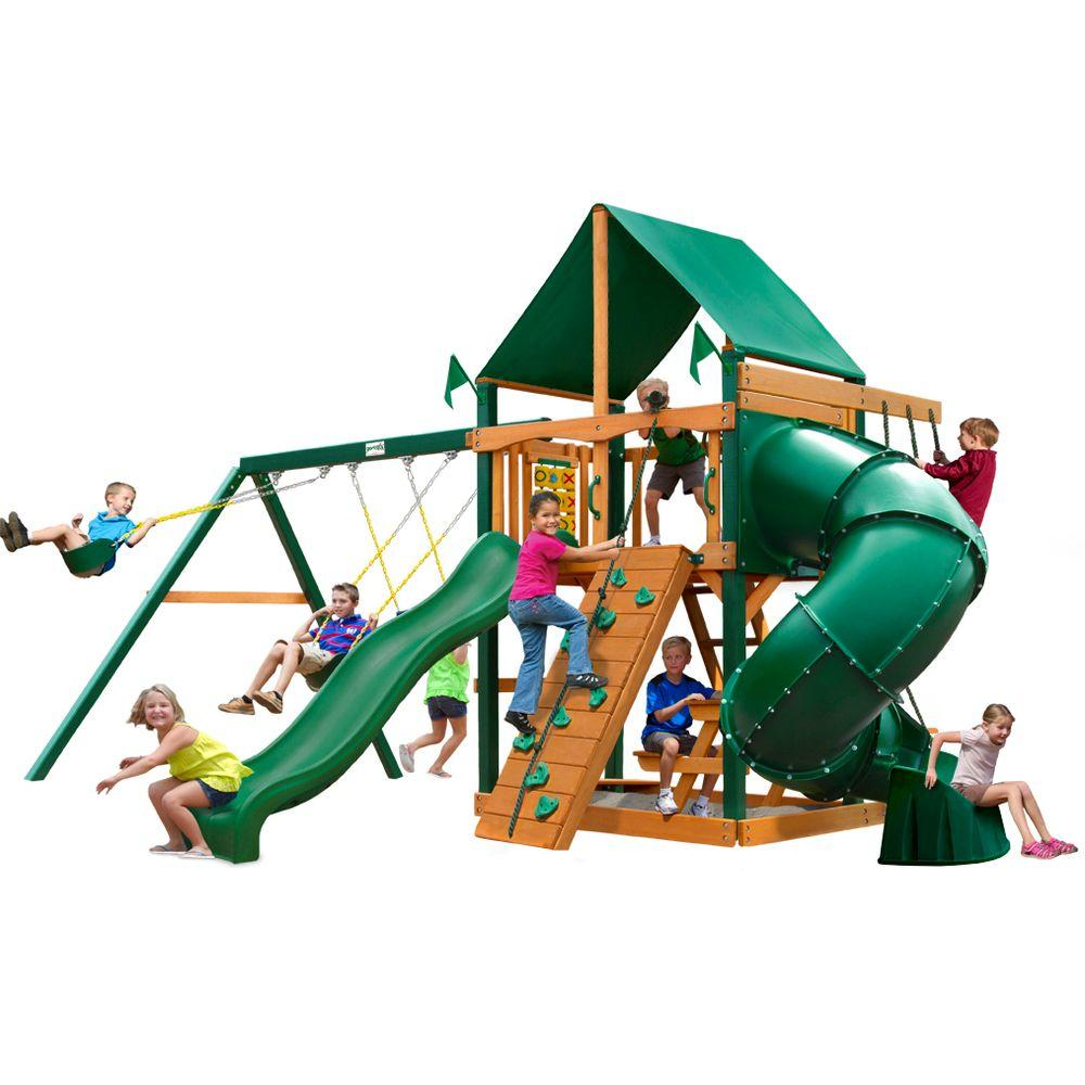 Gorilla Playsets Mountaineer with Timber Shield and Deluxe Green Vinyl Canopy Cedar Playset