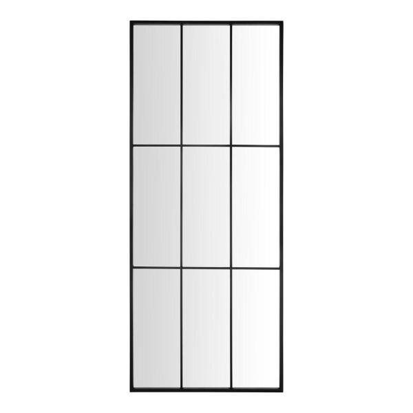 70 in. H x 29 in. W Home Decorators Collection Rectangle Windowpane Black Metal Frame Leaner Mirror